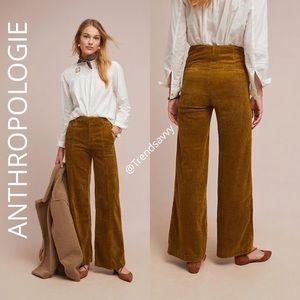 ANTHROPOLOGIE Wide-Wale Corduroy Trousers Pants 26